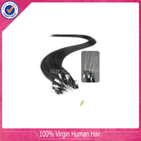 Wholesale Loop Micro ring hair extensions Brazilian Vrgin Remy Human Hair Dark Color b No shedding No tangel g s strands