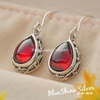 Wholesale 925 sterling silver jewelry vintage Thai silver garnet green agate drop earrings lapis earrings silver earrings Ms