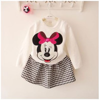 Wholesale 2014 Autumn New Fashion Girls Suits Long Sleeve Shirt with Houndstooth Short Skirt Sets with Minnie Mouse Design
