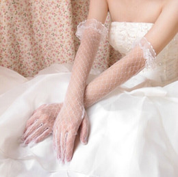 Wholesale New Arrival Bridal Gloves Long Gorgeous Wedding Dress Accessories Tulle White Ivory Bridal Gloves