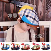 Wholesale Brand New Children s Caps baby beret fashion plaid hats boy girls caps children cool Hats
