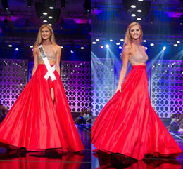Wholesale New Arrival Fall Miss Teen A Line High Neck Two Pieces Beaded Sequin Side Slit Pageant Dresses Party For Women Prom Evening Gowns