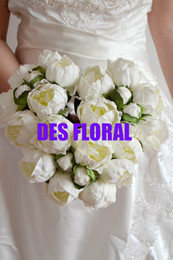 Wholesale DES FLORAL Wedding decoration Artificial Peony Bouquet white color heads with buds decorative flower