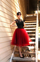 maxi - 2015 Attractive Red Tulle Skirt Custom Made Knee Length Women Skirts Plus Size Maxi Skirts For Women Summer Spring Short Skirt Fast Shipping