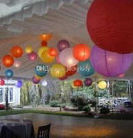 """Cheap 10"""" 25cm Chinese Paper Lanterns With LED Lights Shiny Christmas Ornaments Lantern For Wedding Party Decoration Supplies Mixed Color"""