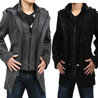 Cheap Wholesale-Free shipping 2014 winter new fashion casual manteau homme plus size 3xl 4xl jacket overcoat male long trench coat men