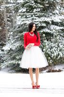 Wholesale 2015 Romantic Short Tulle Skirts Custom Made White Ivory Knee Length Pleated Plus Size Maxi Skirts For Women Summer Tutu Skirt Vestidos