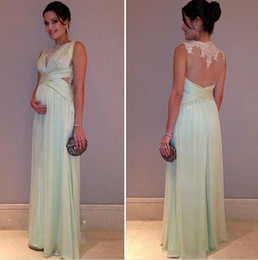 2017 New Mint Green Evening Dress With Sheer Back Elegant Long Chiffon Lace Formal Pregnant Women Event Gown Free Shipping WL252