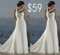 Wholesale Cheapest Chiffon Wedding Dresses A Line Sweep Train White Bridal Gowns Sweetheart Lace Up Back Halter Evening Dress With Hand Made Floral