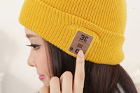 Cheap Cloche Bluetooth hat Best Yellow Yarn Dyed Winter hats