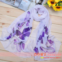 Wholesale Hot New Style Scarf Sarongs Brisk Butterfly Pattern Scarves Chiffon Printed Scarfs Colors