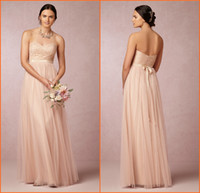 Wholesale 2015 Blush Pink Long Bridesmaid Dresses Sweetheart Lace Bodice A Line Floor length Tulle Formal Gowns