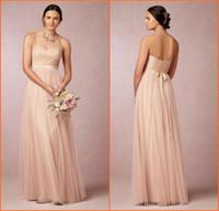 2015 Румяна Розовый Длинные платья невесты Милая Кружева лифа A-Line длиной до пола Тюль вечерние платья