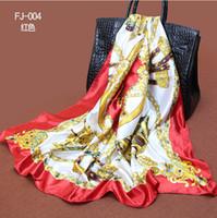 Cheap 10pcs lot Elegant style wagon & chain printed square satin silk scarf silk 90*90cm WJ-142