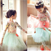 Wholesale 2014 new flower belt gauze lace dress children TUTU skirt girl spring autumn winter clothing show Girls tutu Dress Party