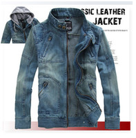 Wholesale Export Men s Jean Coat Jacket Classic Coats with Hat Stand up Collar Long Sleeve size