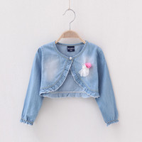 Wholesale Children Jacket Kids Coat Girls Jackets Lace Floral Children Outwear Denim Coat Child Clothing Jeans Jacket Children Clothes Baby Girls Coat