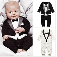 Cheap Free Shipping 100% cotton baby clothing boy's Gentleman tie romper infant long sleeve Suit clothes baby's JumpSuit