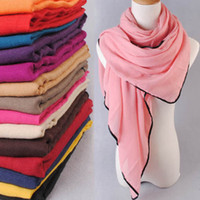 Wholesale Fashion cm Woman viscose scarf Winter Maxi Muslim Hijab Shawl for ladies long wrap Black Cotton Trim