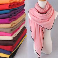Wholesale Fashion cm Woman viscose scarf Winter Maxi Muslim Hijab Shawl for ladies long wrap Black Cotton Trim