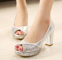 Wholesale Chunky Heel Party - glitter sequins gold heels silver wedding shoes bride shoes comfortable mid heel pumps princess style prom gown dress shoes size 34 to 39