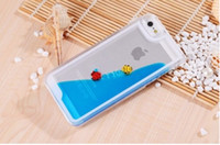Cheap Magical liquid Fish Ocean World Flower Star Glitter sandglass Hard Crystal clear Transparent cover case cases For Iphone 4 4S 5 5S 100pcs