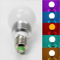 Wholesale RGB LED bulbs E27 W V multiple colour RGB led Lamp with Remote Control led light Good quality led bulbs light cheap led bulbs