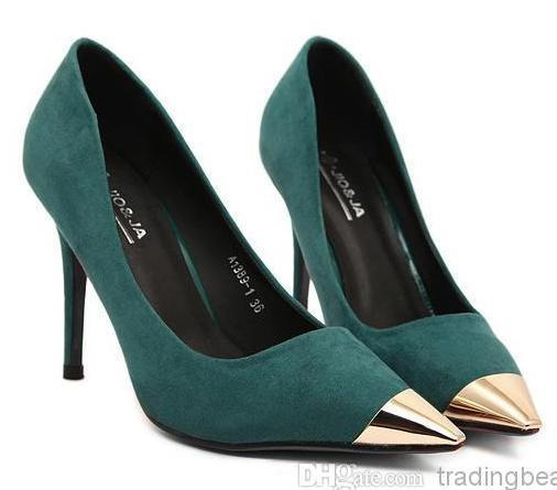 Fashion Red Sole Dark Green Pointed Pumps Gold Toe Stiletto Heel ...