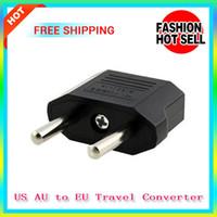 Wholesale 10PCS Universal US AU to EU Travel Converter AC Power Plug Power Charger Adapter USA to European Black Plastic Travel Converter