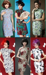 Wholesale Hot Elegant Short Sleeve Chinese Cheongsam Floral split ends Women s Lady Slim Fit Dress Short Mini Length New Fashion Summer Prom