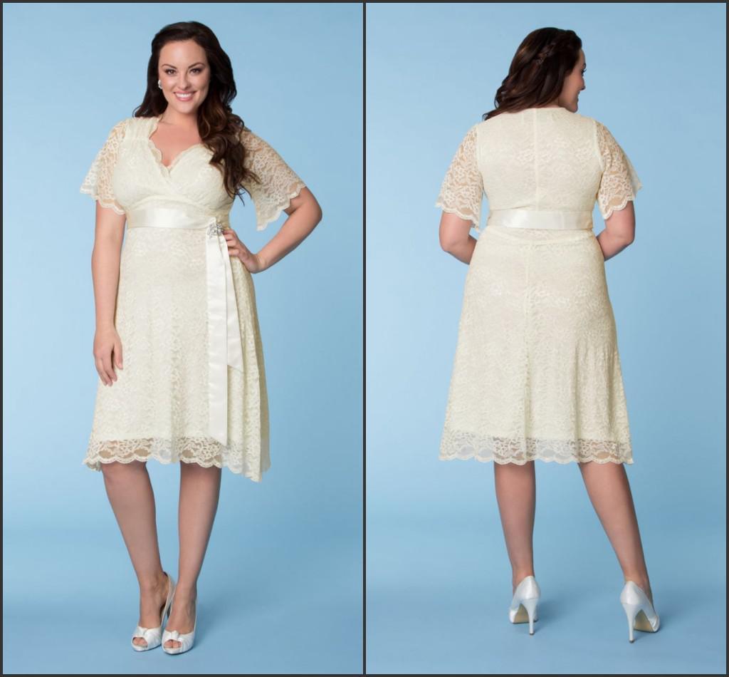 2014 Charming Short Vintage Wedding Dresses Beach Bridal