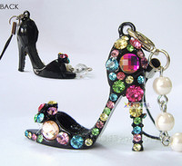 Cheap Wholesale-Free shipping,Min order 15$ (Mixed order) Popular Gorgeous Sexy Modern Lady High-heeled Shoes Rhinestone Charm Cell Phone Strap