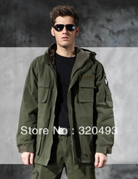 Wholesale US ARMY AIR FORCE Jacket winter thermal trench with hood outdoor thick fleece lining military jacket