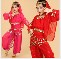 indian clothes - Childrens Indian Dance Performance Clothing Belly Dance Costume Full Sets Dress For KID Children