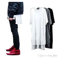 Wholesale Long Style New Fashion Hip Hop Man Spring Brand T shirt T Shirt Curved Hem Elongated Irregular Slittshirt Men Tyga Swag Clothing Clothes