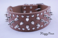 Wholesale Spiked Collars For Big Dogs - Wholesale-Designer spiked collar for large dogs Big dogs genuine leather cowhide pitbull collars with spikes Brand new red Free Shipping