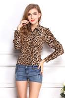 Cheap 2014 Women Fashion Plus Size Blouse Chiffon Shirts Leopard Tops Full Sleeve Slim All-Match Clothes Brand Summer Wear CL2019