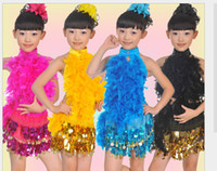 Wholesale Girls Sequins Feathers Cheerleading Dance Clothes Dress Children s Dancewear Performance Clothes Modern Ballet Latin Dance