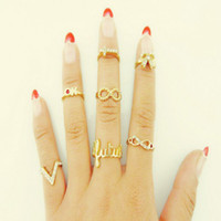 Cheap 7Pcs lot Heart Cross Infinity Bowknot Simple Band Midi Mid Nail Finger Top Stacking Sweetheart Ring Set wholesale DFJ-24