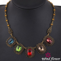 Wholesale 2014 Jewelry Crystal Necklace Pandent Necklce Jewelry Western Evening Party Necklace Selling Best In Market Pendant Chock Statement Necklace