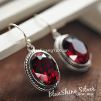 Cheap 925 sterling silver jewelry vintage Thai silver garnet earrings earrings earrings ladies fashion jewelry gift