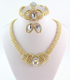New African Gold Plated Necklaces Bracelets Rngs Earrings Sets For Women Wedding Accessories Gold Plated Rhinestone Jewelry Sets