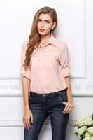 Cheap Free Shipping Women Chiffon Blouses Sheer Shirt Korean Sweet Full Sleeve Lantern Sleeve Tops Candy Color 27
