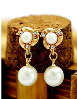 Cheap Korea Style 2014 New Fashion Cream Imitation Pear Charm Pendant Piercing Earrings Jewelry Women Accesssories DEF-63
