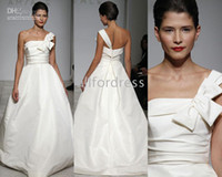 wedding dresses 2011 - One Shoulder Satin A Line Chapel Train Amsale blakely Wedding Dress Bridal Gown