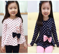 Wholesale Wholesalers New Child s casual wear suit Spring girls fashion cotton dot bow pink navy blue t shirt trousers suit set