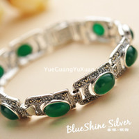 Wholesale 925 sterling silver jewelry vintage Thai silver green agate bracelet Ms upscale atmosphere gorgeous jewelry gift to send his girlfriend
