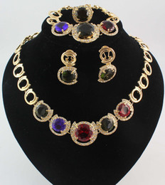 African Necklaces Bracelets Earrings Rings jewelry sets 18K Gold Plated Austria Colorful Crystal African Costume Jewelry set for Women