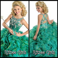 Cheap Elegant Fantasy Kids 2015 Green Girl's Pageant Gowns Jewel Ball Gown Tiers Beautiful Charming Formal Dress Little Girl Pageant Dresses