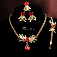 Wholesale Women s Gold Plated Red Green Ruby Austrian Crystal Necklace Bracelet Jewelry Sets